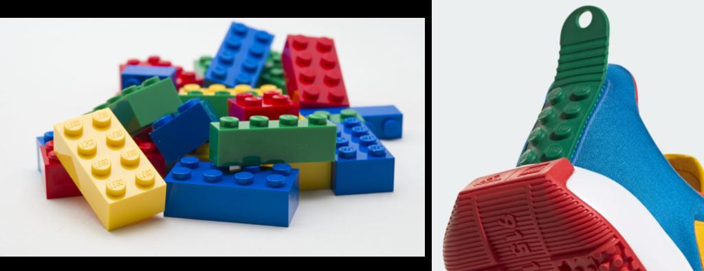 compare lego brick and shoe